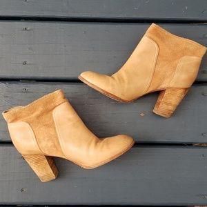 Kate Spade leather & suede heeled booties tan Sz 9